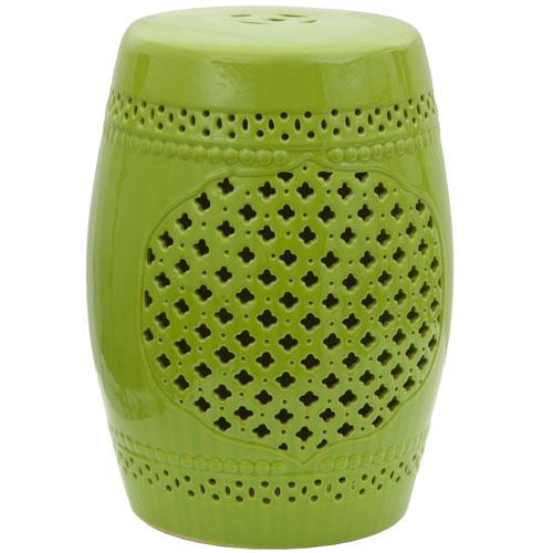 18-inch Green Lattice Porcelain Garden Stool