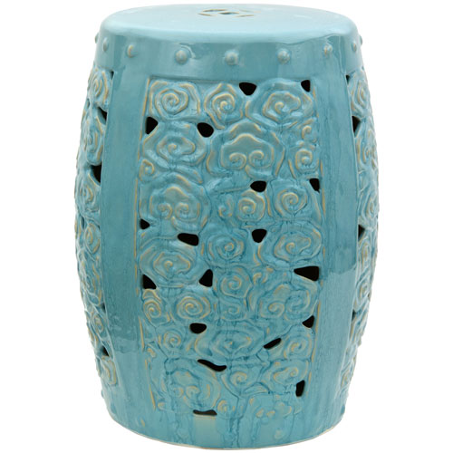 18-inch Carved Clouds Porcelain Garden Stool