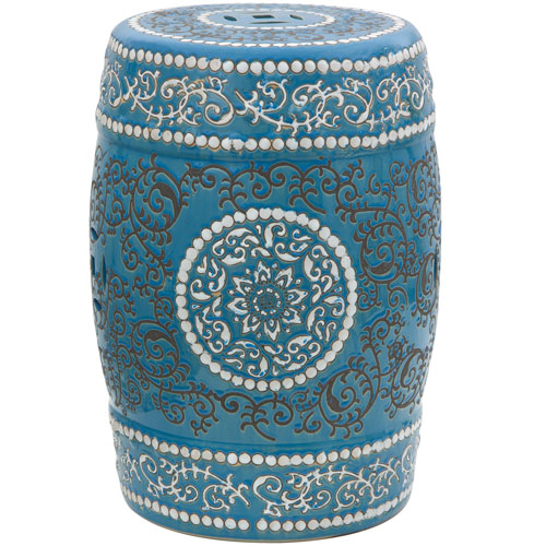 18-inch Blue Medallion Porcelain Garden Stool