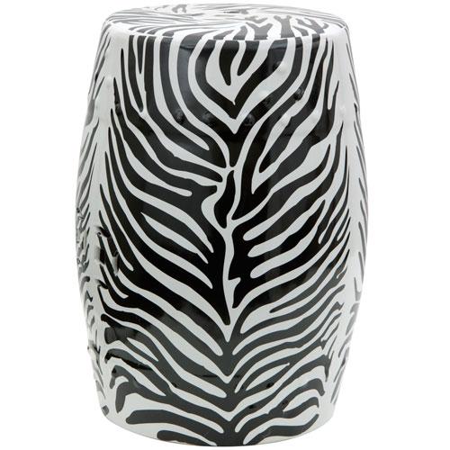 18-inch Zebra Leaf Porcelain Garden Stool