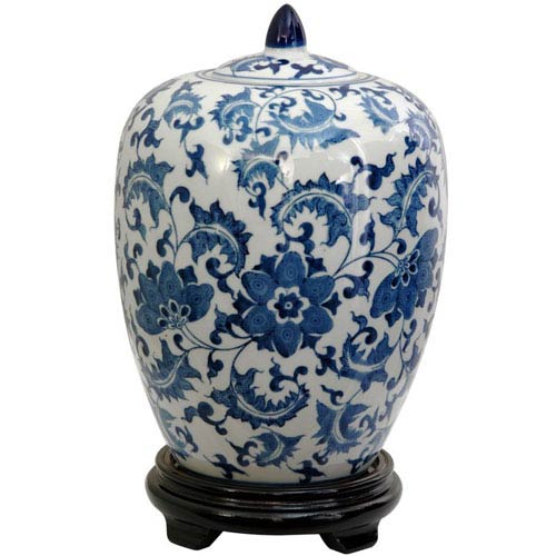 Oriental Furniture 11 Inch Porcelain Vase Jar Blue and White Floral, Width - 8 Inches