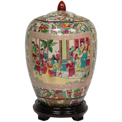 11 Inch Porcelain Vase Jar Rose Medallion, Width - 8 Inches