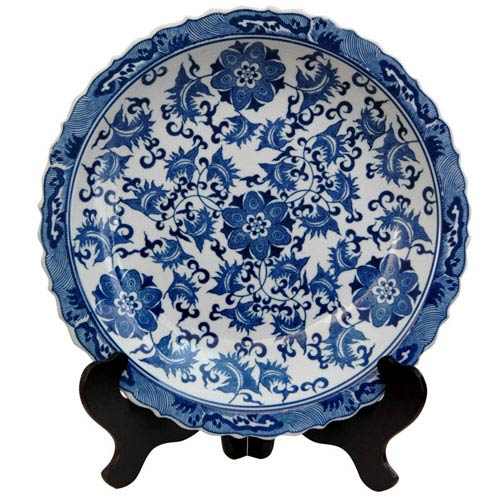 Oriental Furniture 14 Inch Porcelain Plate Blue and White Floral, Width - 14 Inches