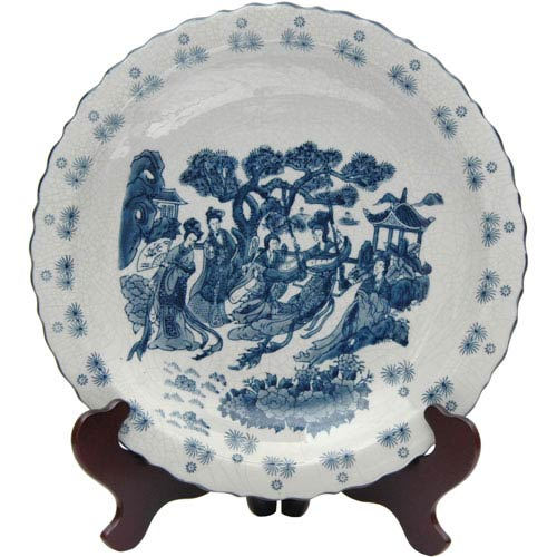 Oriental Furniture 14 Inch Ladies Blue and White Porcelain Plate, Width - 14 Inches