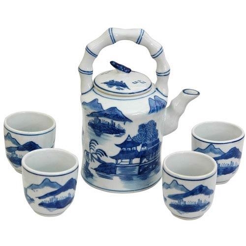 Porcelain Tea Set Blue and White Landscape, Width - 6.5 Inches