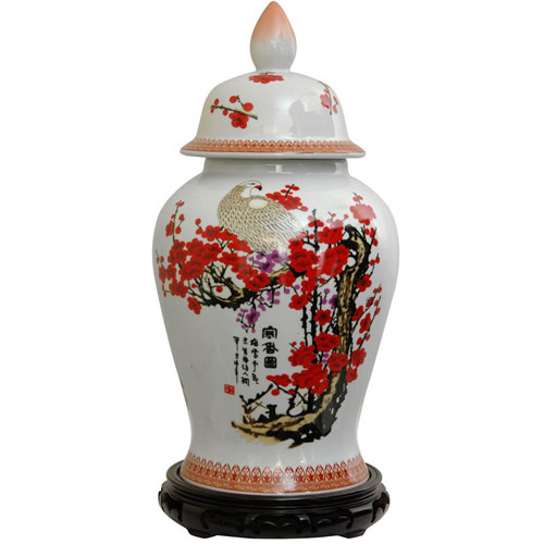 Oriental Furniture 18 Inch Porcelain Temple Jar Cherry Blossom, Width - 10 Inches
