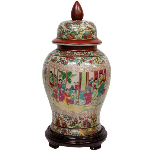 18 Inch Porcelain Temple Jar Rose Medallion, Width - 10 Inches