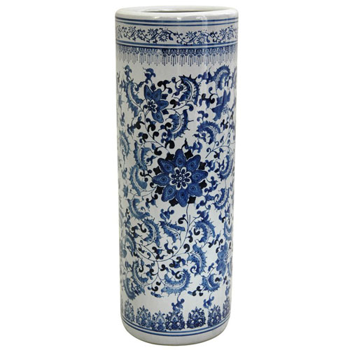 24 Inch Porcelain Umbrella Stand Blue and White Floral, Width - 8.5 Inches