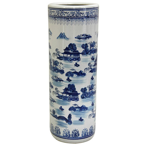24 Inch Porcelain Umbrella Stand Blue and White Landscape, Width - 8.5 Inches