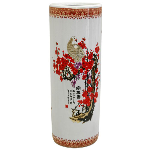 24 Inch Porcelain Umbrella Stand Cherry Blossom, Width - 8.5 Inches