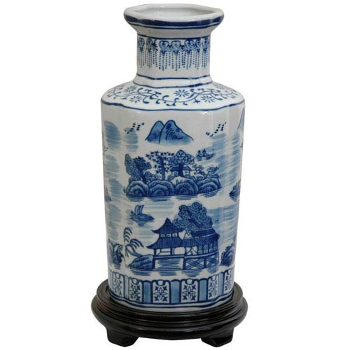 12 Inch Porcelain Vase Blue and White Landscape, Width - 6 Inches