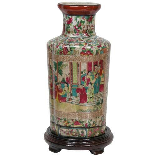 12 Inch Porcelain Vase Rose Medallion, Width - 6 Inches