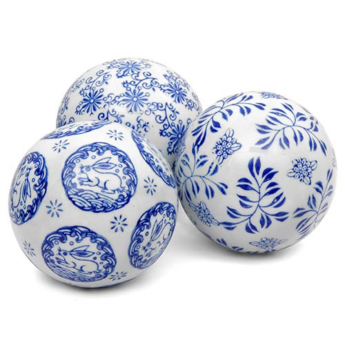 Oriental Furniture Blue and White 4-Inch Decorative Porcelain Ball Set