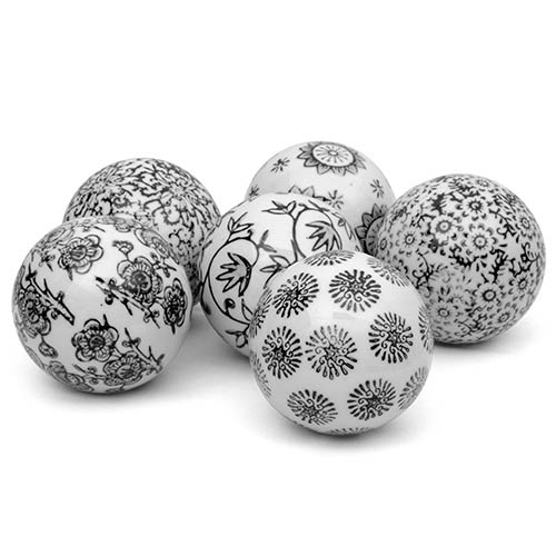Black and White 3-Inch Decorative Porcelain Ball Set