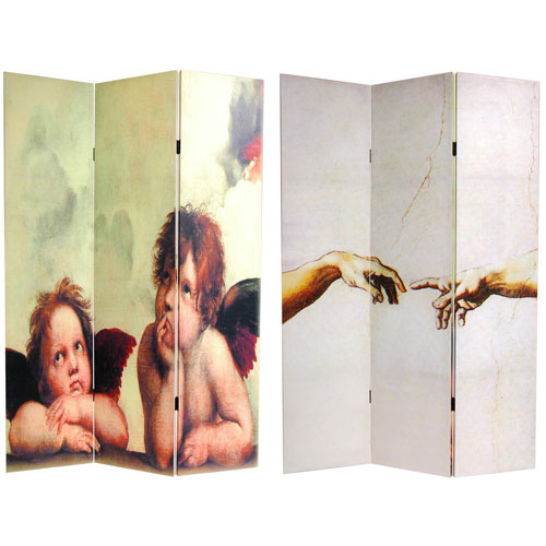 Oriental Furniture Double Sided Cherubs Canvas Room Divider, Width - 47.25 Inches