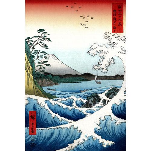Oriental Furniture Crashing Waves Ukiyo-e by Hiroshige Wall Art
