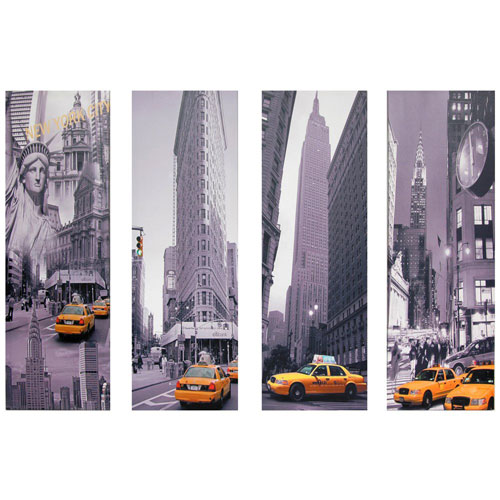 Oriental Furniture New York Taxi Canvas Wall Art - Set of 4, Width - 11.75 Inches