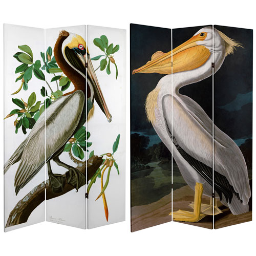 6-Foot Tall Double Sided Audubon Pelican Canvas Room Divider