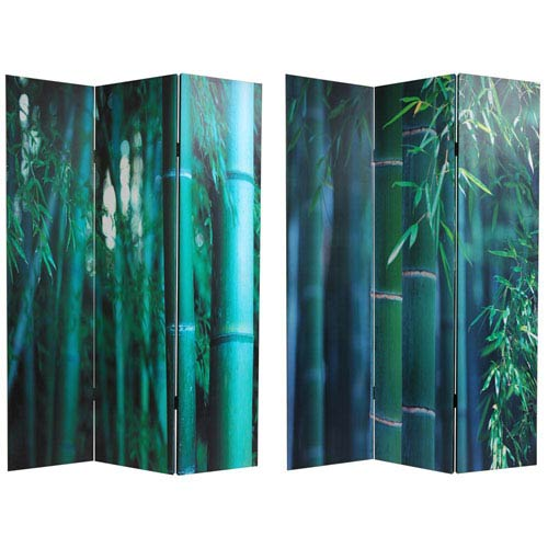 Oriental Furniture Double Sided Bamboo Tree Canvas Room Divider, Width - 48 Inches