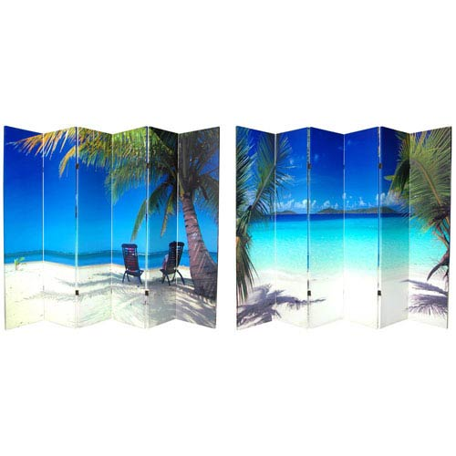Six Ft. Tall Double Sided Ocean Canvas Room Divider Six Panel, Width - 96 Inches