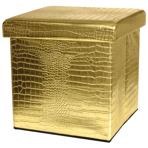 Gold Faux Leather Storage Ottoman