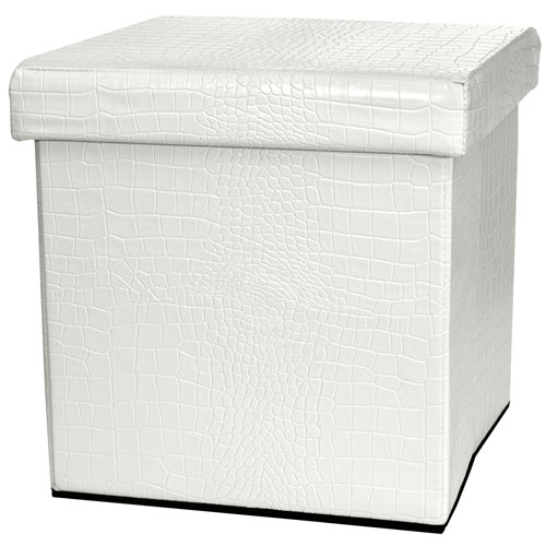 White Faux Leather Storage Ottoman