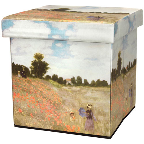 Monet Poppies Storage Ottoman