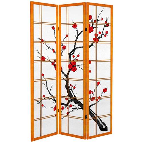 6 ft. Tall Canvas Cherry Blossom Room Divider - Honey - 3 Panels