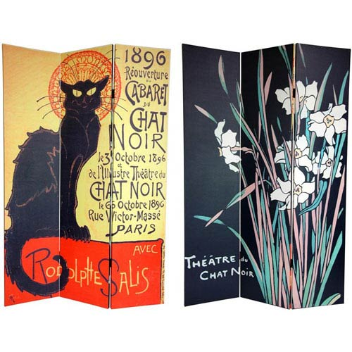 Oriental Furniture Six Ft. Tall Double Sided Chat Noir Canvas Room Divider, Width - 48 Inches