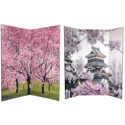 Oriental Furniture Six Ft. Tall Double Sided Cherry Blossoms Canvas Room Divider, Width - 64 Inches