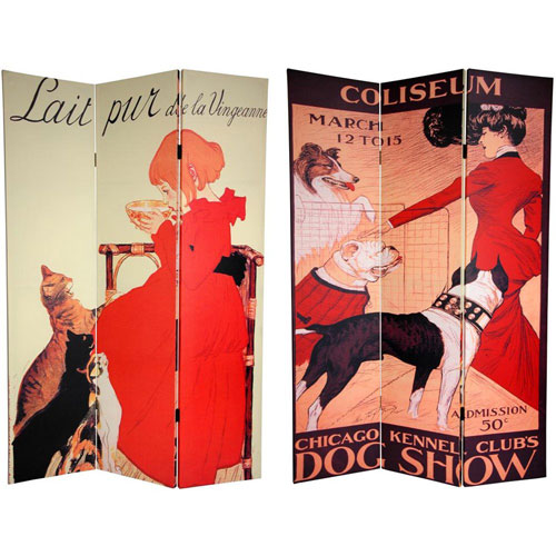 Oriental Furniture Six Ft. Tall Double Sided Dogs and Cats Canvas Room Divider, Width - 48 Inches