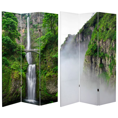 6-Foot Tall Double Sided Mountaintop Waterfall Canvas Room Divider