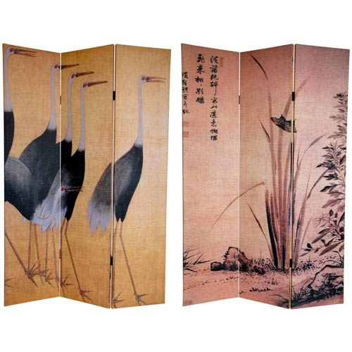 Oriental Furniture Six Ft. Tall Double Sided Cranes Canvas Room Divider, Width - 48 Inches