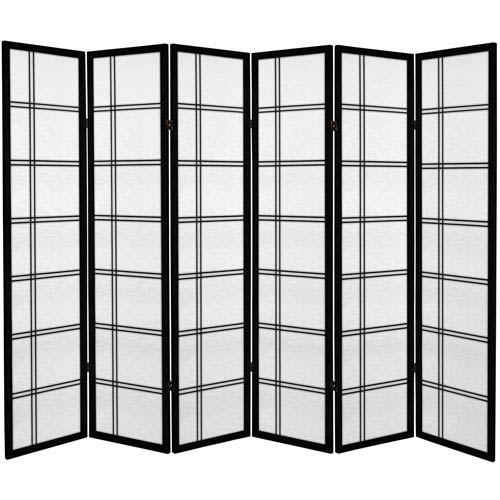 Oriental Furniture 6 Ft Tall Canvas Double Cross Room Divider Black