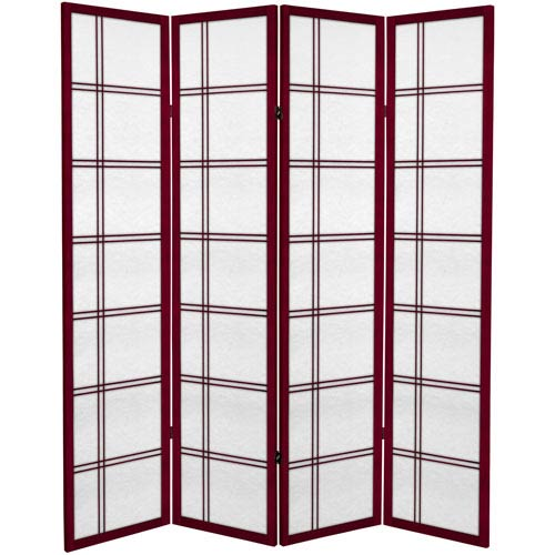 6 ft. Tall Canvas Double Cross Room Divider - Rosewood - 4 Panels