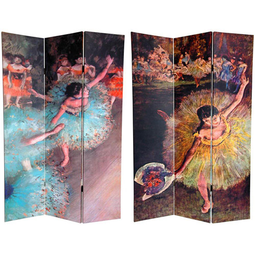 Oriental Furniture Six Ft. Tall Double Sided Works of Degas Canvas Room Divider - Arabesque, Width - 48 Inches