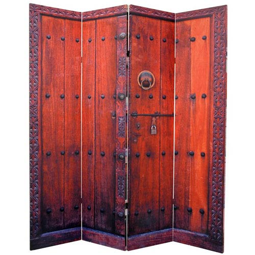 Six Ft. Tall Double Sided Doors Canvas Room Divider Four Panel, Width - 64 Inches