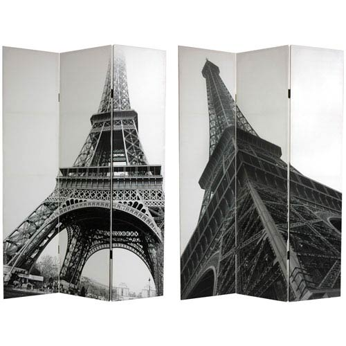 Oriental Furniture Double Sided Eiffel Tower Canvas Room Divider, Width - 48 Inches