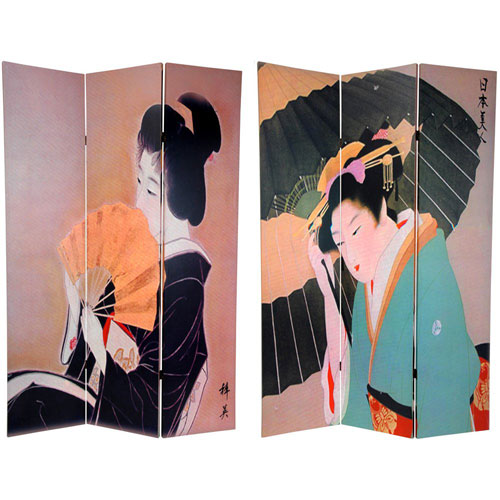 Oriental Furniture Six Ft. Tall Double Sided Geisha Room Divider, Width - 48 Inches