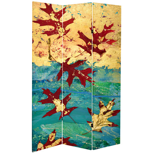 7-Foot Tall Double Sided Autumn Leaves Canvas Room Divider