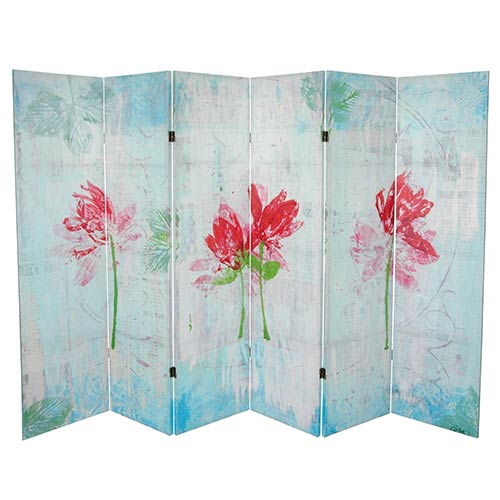 Spring Morning Multi-Colored 5.25 Ft. Canvas Room Divider