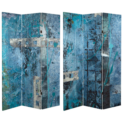 6 Foot Tall Double Sided Blue Dream Canvas Room Divider