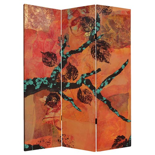 Oriental Furniture Rich Autumn Multi-Colored 5 Ft. Tall Canvas Room Divider