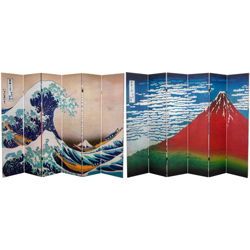 6 ft. Tall Double Sided Hokusai Room Divider - Great Wave/Red Fuji