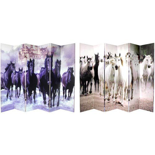 Six Ft. Tall Double Sided Horses Canvas Room Divider Six Panel, Width - 96 Inches