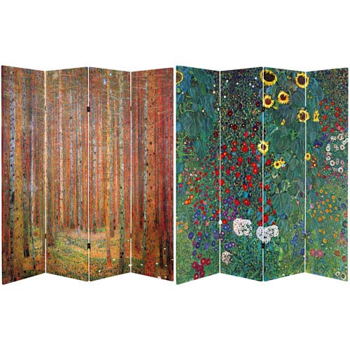 Oriental Furniture 6 Ft Tall Double Sided Works Of Klimt Room Divider