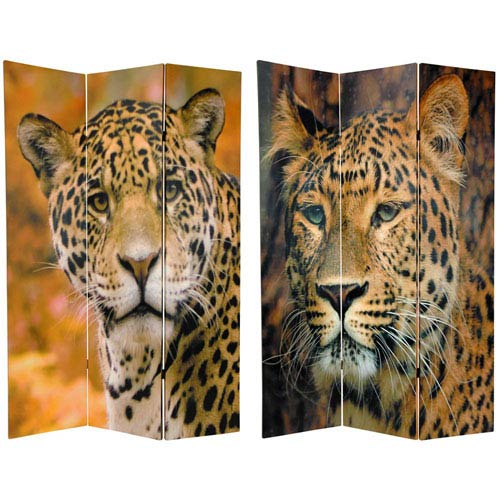 Oriental Furniture Six Ft. Tall Double Sided Leopard Room Divider, Width - 48 Inches