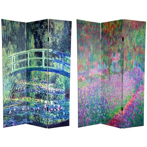 Oriental Furniture Bridge at Searose and Irises in Monets Garden Art Print Room Divider Screen, Width - 48 Inches