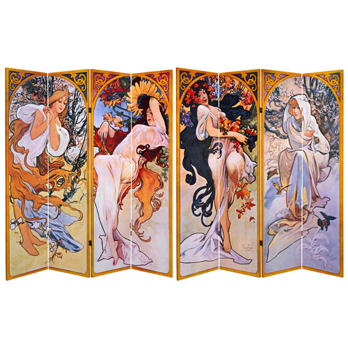 6-Foot Tall Double Sided Four Seasons Canvas Room Divider