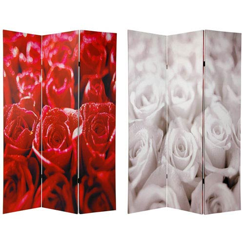 Oriental Furniture Six Ft. Tall Double Sided Roses Room Divider, Width - 48 Inches